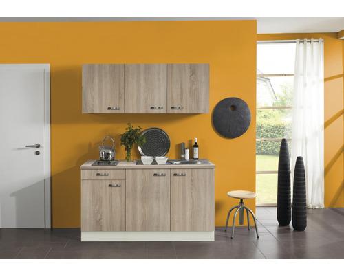 Kitchenette Optifit Padua largeur 150 cm couleur de façade imitation chêne clair brut couleur de corps champagne avec électroménager KPPD 1532D-9+