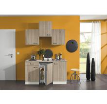 Kitchenette Optifit Padua largeur 150 cm couleur de façade imitation chêne clair brut couleur de corps champagne avec électroménager KPPD 1500D-9+-thumb-0