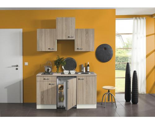 Kitchenette Optifit Padua largeur 150 cm couleur de façade imitation chêne clair brut couleur de corps champagne avec électroménager KPPD 1500D-9+-0
