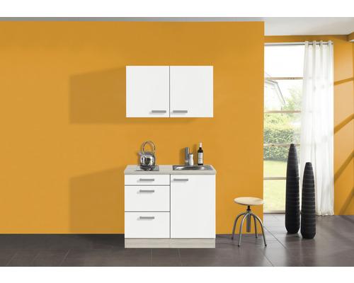 Mini-cuisine Optifit Genf largeur 100 cm couleur de façade blanc couleur de corps décor acacia avec appareils électriques