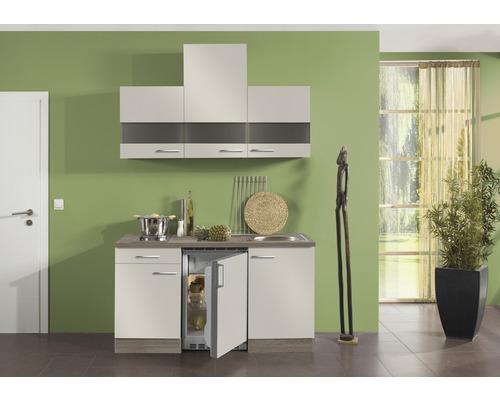 Kitchenette Optifit Arta largeur 150 cm couleur de façade beige Sahara couleur du corps imitation chêne truffe brut avec électroménager KPAT 1504D-9+-0