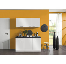 Kitchenette Optifit Lagos largeur 150 cm couleur de façade blanc brillant couleur de corps blanc avec électroménager KPLG 1532D-9+-thumb-0