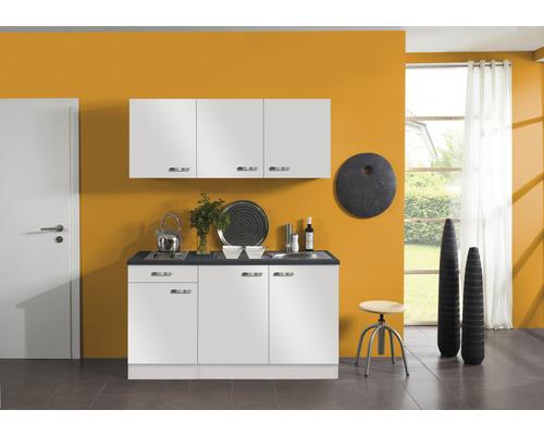 Kitchenette Optifit Lagos largeur 150 cm couleur de façade blanc brillant couleur de corps blanc avec électroménager KPLG 1532D-9+