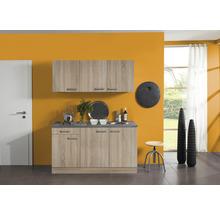 Kitchenette Optifit Neapel largeur 150 cm couleur de façade imitation chêne clair brut couleur du corps imitation chêne clair brut avec électroménager KPNA 1532D-9+-thumb-0