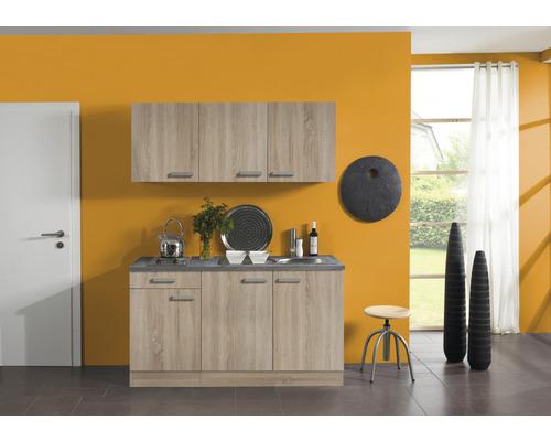 Kitchenette Optifit Neapel largeur 150 cm couleur de façade imitation chêne clair brut couleur du corps imitation chêne clair brut avec électroménager KPNA 1532D-9+