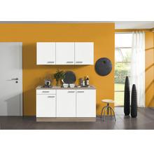 Kitchenette Optifit Zamora largeur 150 cm couleur de façade blanc couleur du corps imitation chêne clair brut avec électroménager KPZM 1532D-9+-thumb-0