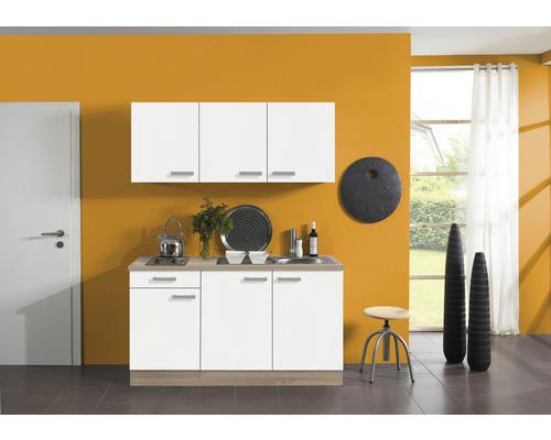 Kitchenette Optifit Zamora largeur 150 cm couleur de façade blanc couleur du corps imitation chêne clair brut avec électroménager KPZM 1532D-9+-0