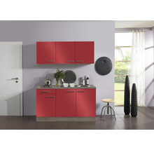 Kitchenette Optifit Imola largeur 150 cm couleur de façade rouge, couleur du corps imitation chêne truffe brut avec électroménager KPIM 1532D-9+-thumb-0