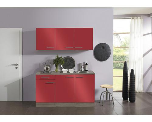 Kitchenette Optifit Imola largeur 150 cm couleur de façade rouge, couleur du corps imitation chêne truffe brut avec électroménager KPIM 1532D-9+