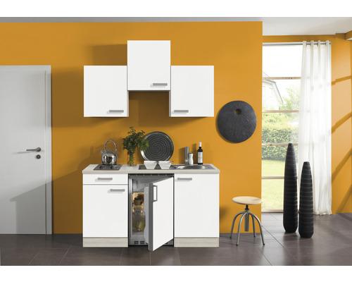 Kitchenette Optifit Genf largeur 150 cm couleur de façade blanc couleur de corps, décor acacia avec électroménager KPGF 1500D-9+-0