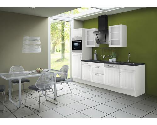 Cuisine complète Optifit Juna969 largeur 280 cm couleur de façade blanc, couleur de corps blanc avec électroménager KRJU 2886EC-3+-0