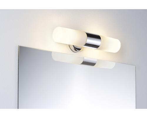 Applique de miroir métal et verre IP44 2 ampoules l 330 mm Lenia blanc chrome