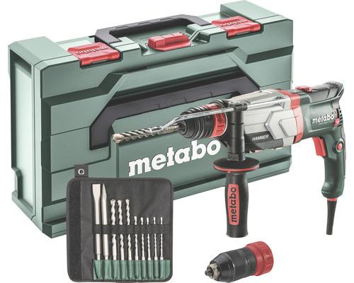Set de marteau perforateur Metabo UHEV 2860-2 Quick avec mandrin interchangeable et set de foret/burin SDS-plus 10pièces