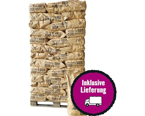 Palette de charbon de bois 42 sacs 10 kg pour professionnels, charbon Lübzer, granulométrie élevée, bois de feuillus pur