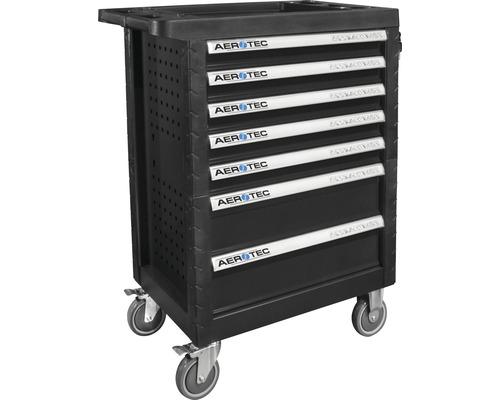 Servante d''atelier Aerotec couvert avec 7 tiroirs et 2 parois arrière perforées, avec quatre modules d''outils, 165 pces.