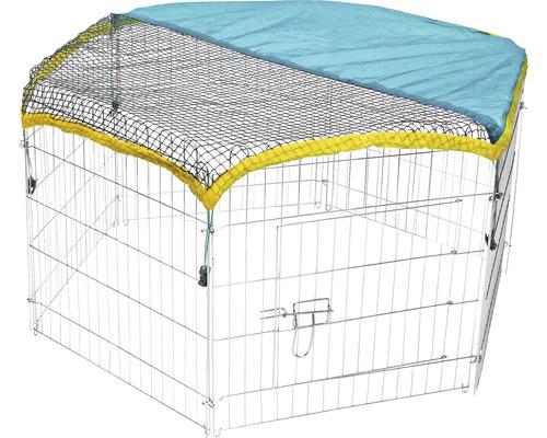 Enceinte extérieure hexagonale avec filet et protection solaire Ø 110 cm zingué