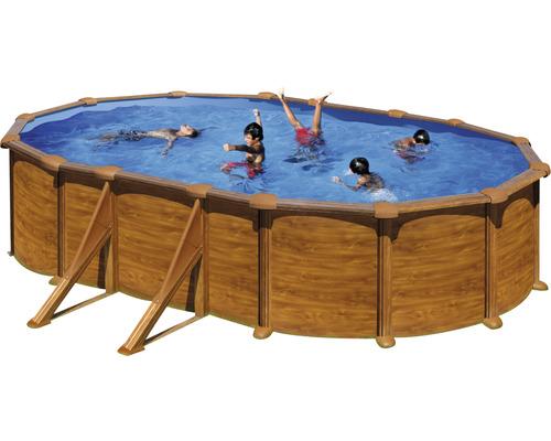 Kit piscine hors sol à paroi en acier Solo ovale 610x375x132 cm avec skimmer intégré aspect bois