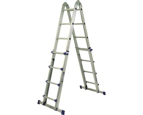 Échelle télescopique CLASSIK 4 x 4 barreaux aluminium longueur 1,10-3,88 m