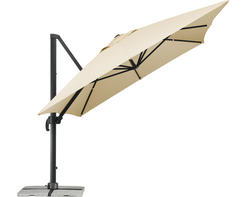 Parasol déporté, parasol de jardin Schneider Rhodos Grande 300 x 400 cm rectangulaire nature