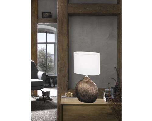 Lampe de table céramique/ textile 1 ampoule hxLxl 360x230x130 mm Foro couleur cuivre abat-jour blanc avec cordon avec interrupteur