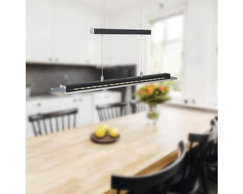 Suspension LED métal/ verre CCT + à intensité lumineuse variable 20W 1600 lm 3000/4750/6500 K blanc chaud/ blanc neutre/ blanc naturel hxL 1500/800x880 mm Tenso TW noir sable couleur chrome réglable en hauteur