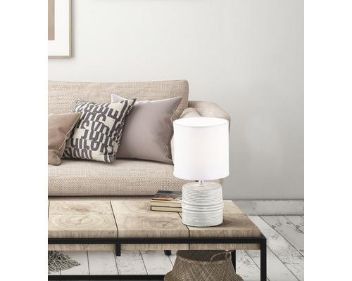 Lampe de table céramique/ textile à 1 ampoule hxØ 240x130 mm Pilot blanc marron abat-jour blanc avec cordon avec interrupteur