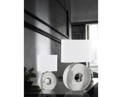 Lampe de table céramique/ textile à 1 ampoule hxLxl 530x340x170 mm Eye couleur argent abat-jour blanc avec cordon avec interrupteur