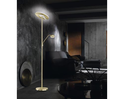 Lampadaire LED métal/ verre acrylique CCT + à intensité lumineuse variable 30/6W 3500/710 lm 2700/3350/4000 K blanc chaud/blanc neutre h 1,8 m Dent couleur laiton mat poli