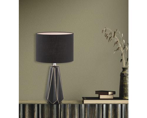 Lampe de table céramique/ textile 1 ampoule hxLxl 465x250 mm Mono noir mat abat-jour noir avec cordon avec interrupteur
