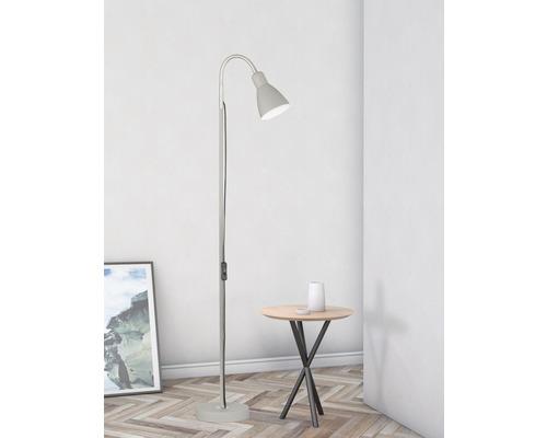 Lampadaire métal 1 ampoule h 1,21 m Lolland gris sable/ couleur nickel mat avec cordon avec interrupteur