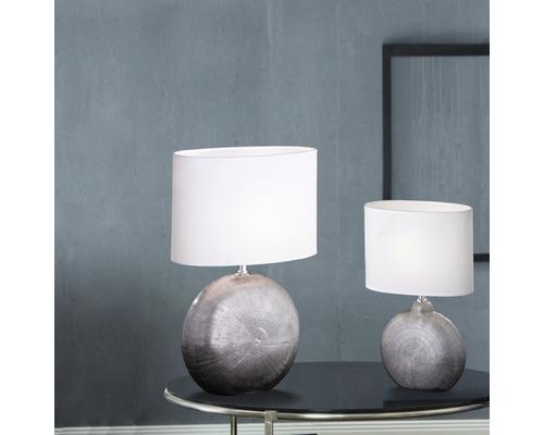 Lampe de table céramique/ textile 1 ampoule hxLxl 360x230x130 mm Foro couleur chrome abat-jour blanc avec cordon avec interrupteur