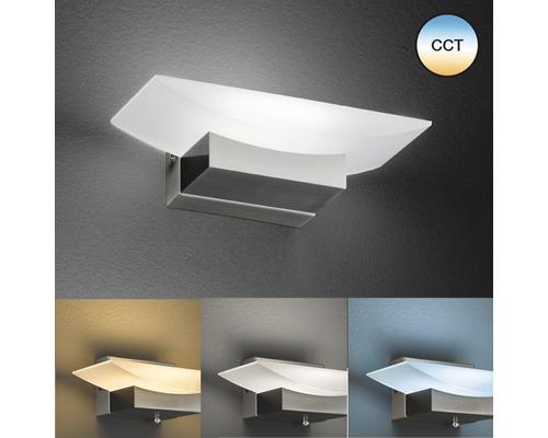 Applique murale LED CCT + à intensité lumineuse variable métal/ verre acrylique 6W 560 lm 2700/3350/6500 K blanc chaud/ blanc neutre/ blanc naturel hxl 70x200 mm Bowl TW noir sable mat/ couleur nickel mat réglable en hauteur