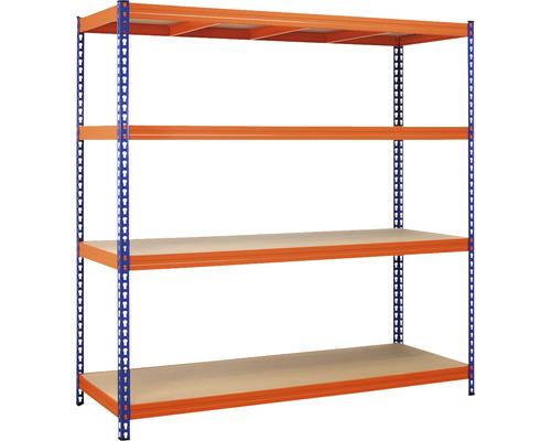 Rayonnage pour charges lourdes Robus 400 bleu orange 1800x1800x600 mm 4 tablettes capacité de charge 1600 kg