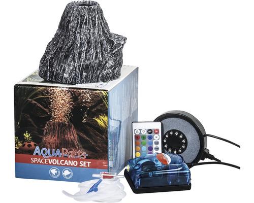 Décoration d''aquarium AquaParts Space Vulcano set avec LED Magic Bubble et pompe à air 16,5 x 16,5 x 20 cm