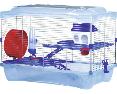 Cage pour hamster KLEO 42 avec 2 étages, échelle, 2 écuelles, roue de hamster et abreuvoir 58 x 32 x 42 cm bleu
