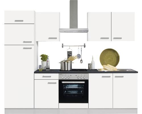 Cuisine complète Optifit Oslo214 largeur 270 cm couleur de façade blanc, couleur de corps blanc avec électroménager KPOS 2731DE-9+