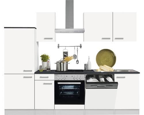 Cuisine complète Optifit Oslo214 largeur 270 cm couleur de façade blanc, couleur de corps blanc avec électroménager KPOS 2742DE-9+-0
