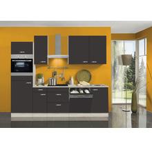 Cuisine complète Optifit Faro largeur 270 cm couleur de façade anthracite couleur de corps Décor acacia avec électroménager KPFR 2764DEC-9+-thumb-0