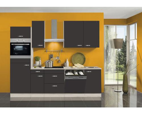 Cuisine complète Optifit Faro largeur 270 cm couleur de façade anthracite couleur de corps Décor acacia avec électroménager KPFR 2764DEC-9+-0