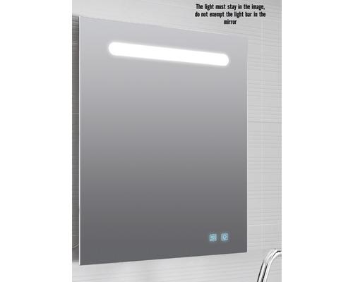 LED Badspiegel Lina 60x80 cm IP 44 (fremdkörper- und spritzwassergeschützt) mit Antibeschlagfunktion und doppelter USB Steckdose