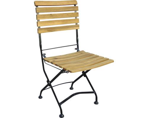 Chaise de jardin pliante acacia marron noir