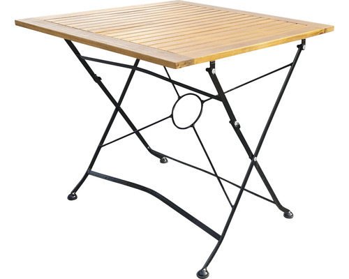 Table de jardin pliante Garden Place bois 80 x 80 x 74 cm acacia marron noir