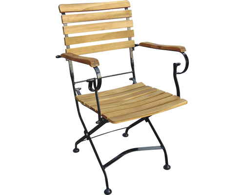 Chaise de jardin pliante acacia marron noir avec accoudoirs