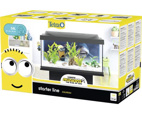 Aquarium Tetra starter line Minions 2 54 L avec éclairage LED, filtre, chauffage, nourriture, préparateur d'eau sans meuble bas