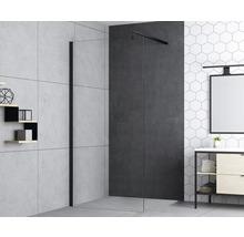 Douche à l''italienne basano Modena black 80 cm verre transparent avec revêtement résistant à la saleté mat noir-thumb-1