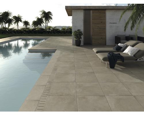 Bordure de piscine margelle angle extérieur 90° beige béton 60 x 30 x 5 cm