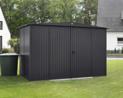 Abri de jardin Hörmann EcoStar Trend avec profil de cadre de sol en aluminium M902, type 3, CH7016 porte à deux vantaux 302,8 x 205,3 cm anthracite
