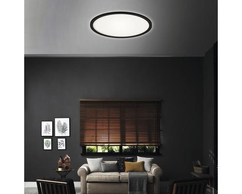 Panneau LED métal/plastique à intensité lumineuse variable CCT 18W2400 lm2700- 6500 K blanc chaud- blanc naturel avec télécommande Backlight hxØ 28x293 mm Slim rond noir