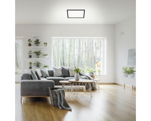 Panneau LED métal/plastique à intensité lumineuse variable CCT 18W2400 lm2700- 6500 K blanc chaud- blanc naturel avec télécommande Backlight hxLxl 28x293x293 mm Slim carré noir