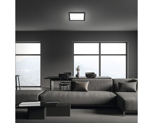 Panneau LED métal/plastique 12W1400 lm4000 K blanc neutre Backlight hxLxl 28x190x190 mm Slim carré noir